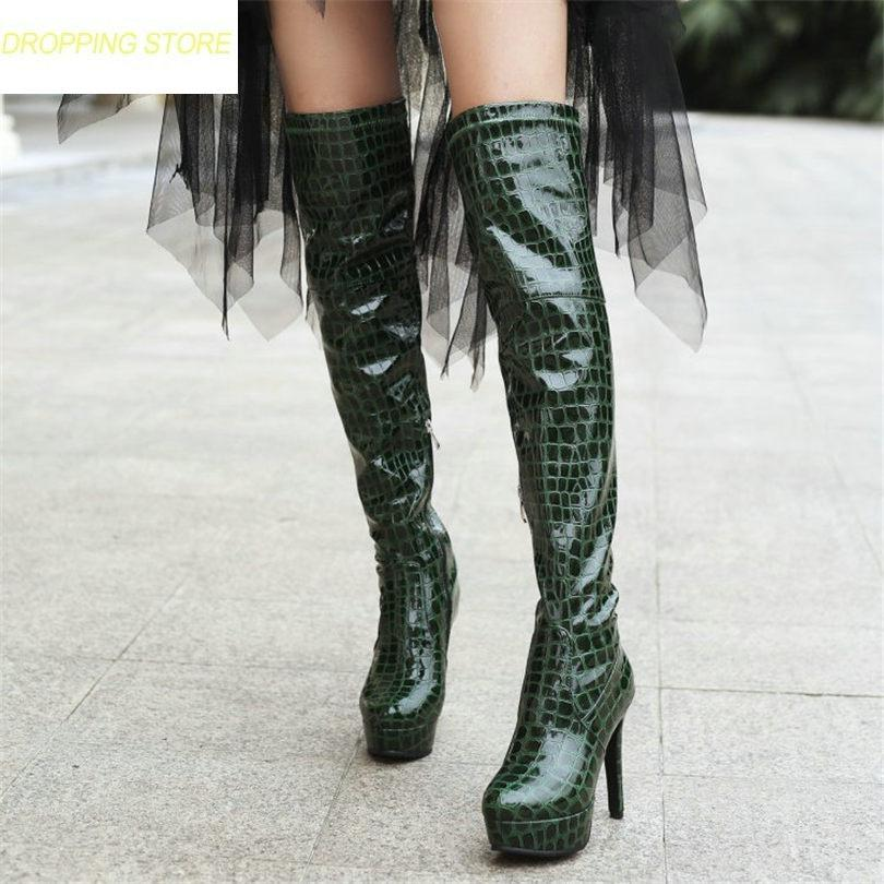 92f7358b1cf07 Thigh High Boots Women Patent Leather Over The Knee Boots Stretchy Slim Leg  High Heel Platform
