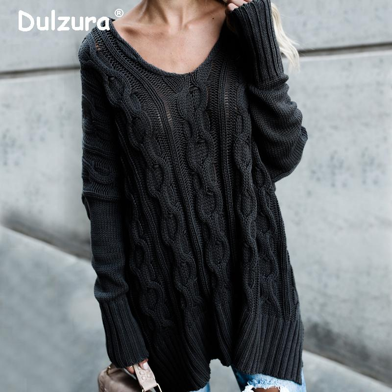 ec2d70d62f Elegant Sides Split Long Sweaters Women 2018 Autumn Winter Sexy V Neck  Pullovers Casual Fashion Loose Oversized Knitted Jumpers C18111601 UK 2019  From ...