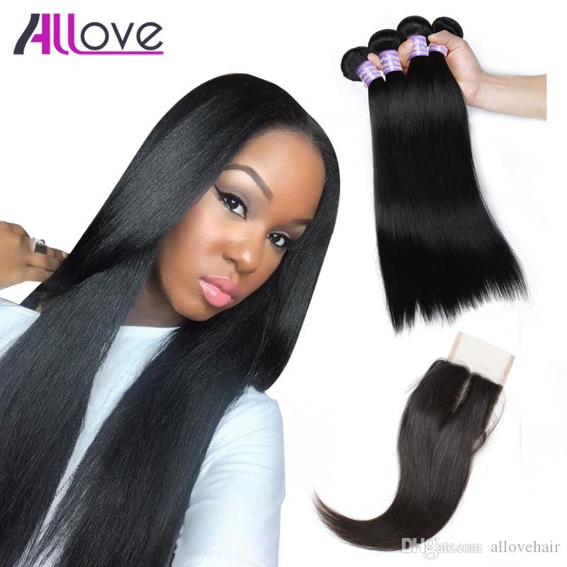 Cheap 8A Brazilian Hair Weft Silky Straight 3pcs with Lace Closure Malaysian Virgin Hair Peruvian Hair Extensions Wholesale Free Shipping