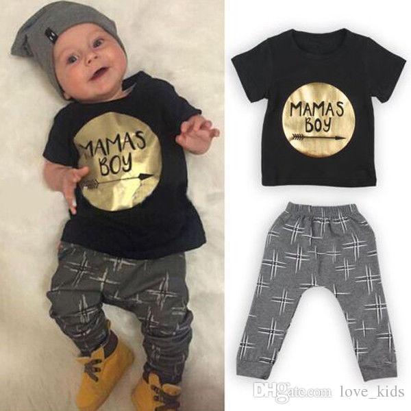 330eb55f31 Compre New Baby Meninos Conjuntos De Roupas Camisa + Calça Crianças  Conjuntos De Roupas Crianças Menino Moda Terno Todder MAMAS MENINO Outfits  De Love kids
