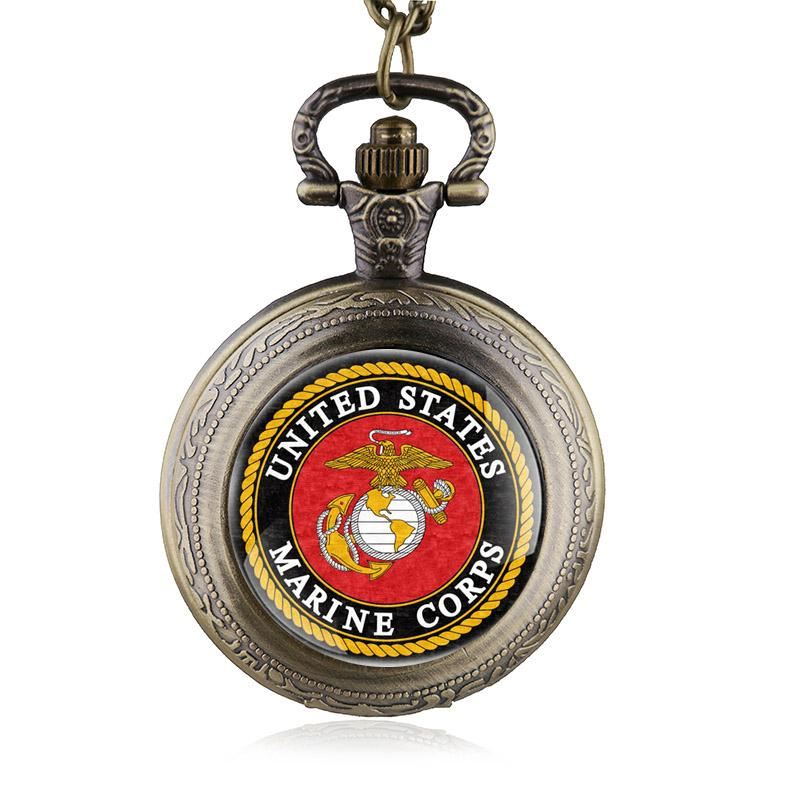 Vintage Bronze United States Marine Corps Theme Pocket Watches for Men Women Military Army Clock Gifts