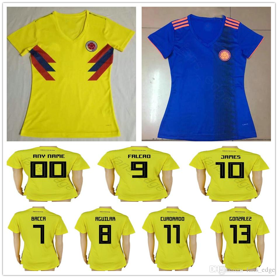 271635616d6 2019 Women Colombia Soccer Jersey 10 JAMES 9 FALCAO 11 CUADRADO 8 AGUILAR  BACCA Custom Yellow Blue Lady Girl Men Youth Kids Football Shirt From  Chen_shop, ...