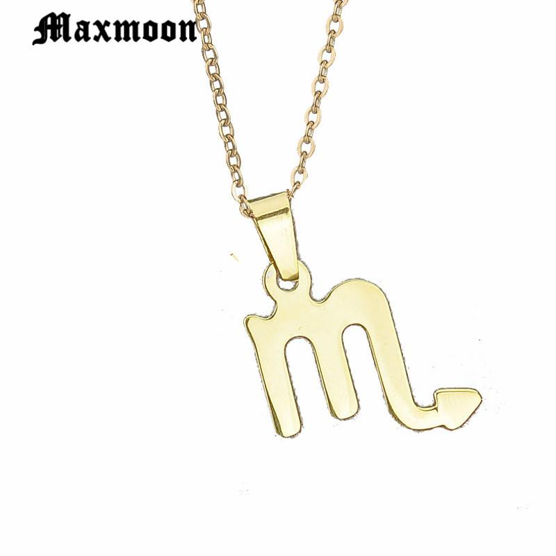 Maxmoon Scorpio Necklace Signs 12 Star Zodiac Constellation Necklace  Horoscope Astrology Disc Starry Sky Galaxy Necklaces