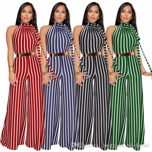 bd59faa3f38 2019 Women Wide Leg Pants O Neck Striped Backless Rompers Women Jumpsuit  Loose Party Jumpsuit Overalls From Dongguan wholesale