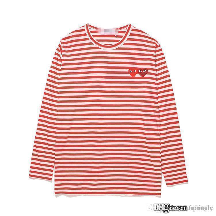 2017 AAA Quality HOLIDAY Heart Emoji PLAY double heart striped long sleeved  t-shirt men women T-shirt cotton red shirt lovers