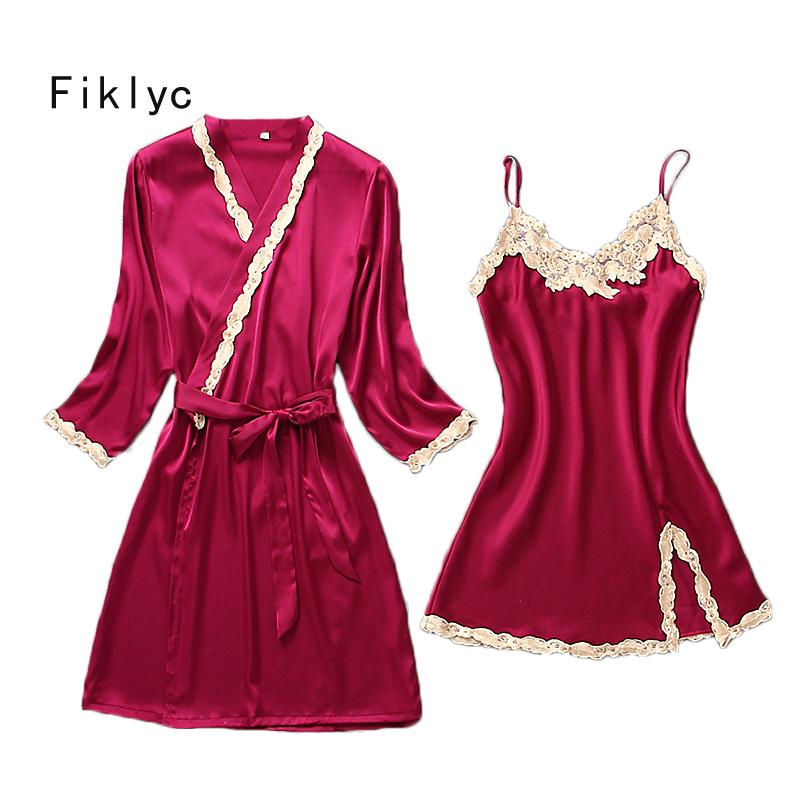 aebd979d4b 2018 Fiklyc Brand Female Sexy Lace Embroidery Two Pieces Robe Gown Sets  Fashion Summer Nightwear Pyjamas Temptation Homewear For Girl From Primali
