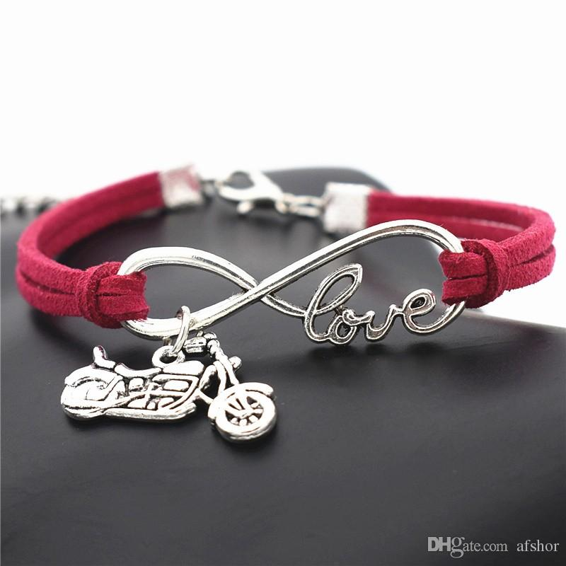 AFSHOR Punk Fashion Men Women Antique Silver Infinity Love Harley Motorcycle Charm Motocross Motorsport Leather Rope Wrap Bracelet