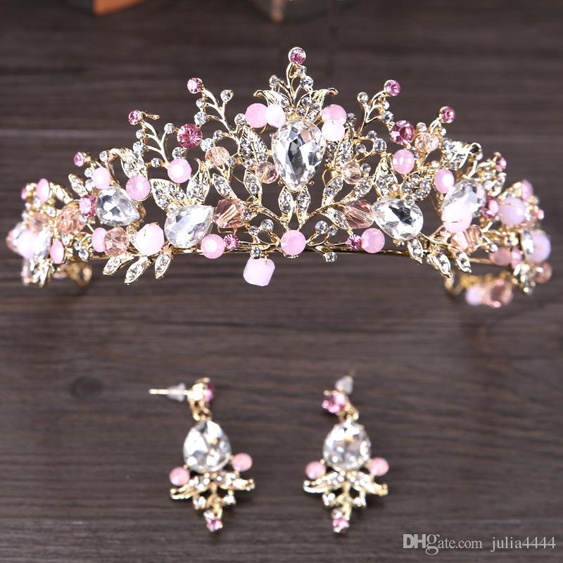 رائع الزفاف التيجان للعرائس تألق الزفاف الماس مهرجان التيجان هيرباند كريستال حفلة موسيقية مهرجان الشعر مجوهرات خوذة earrining