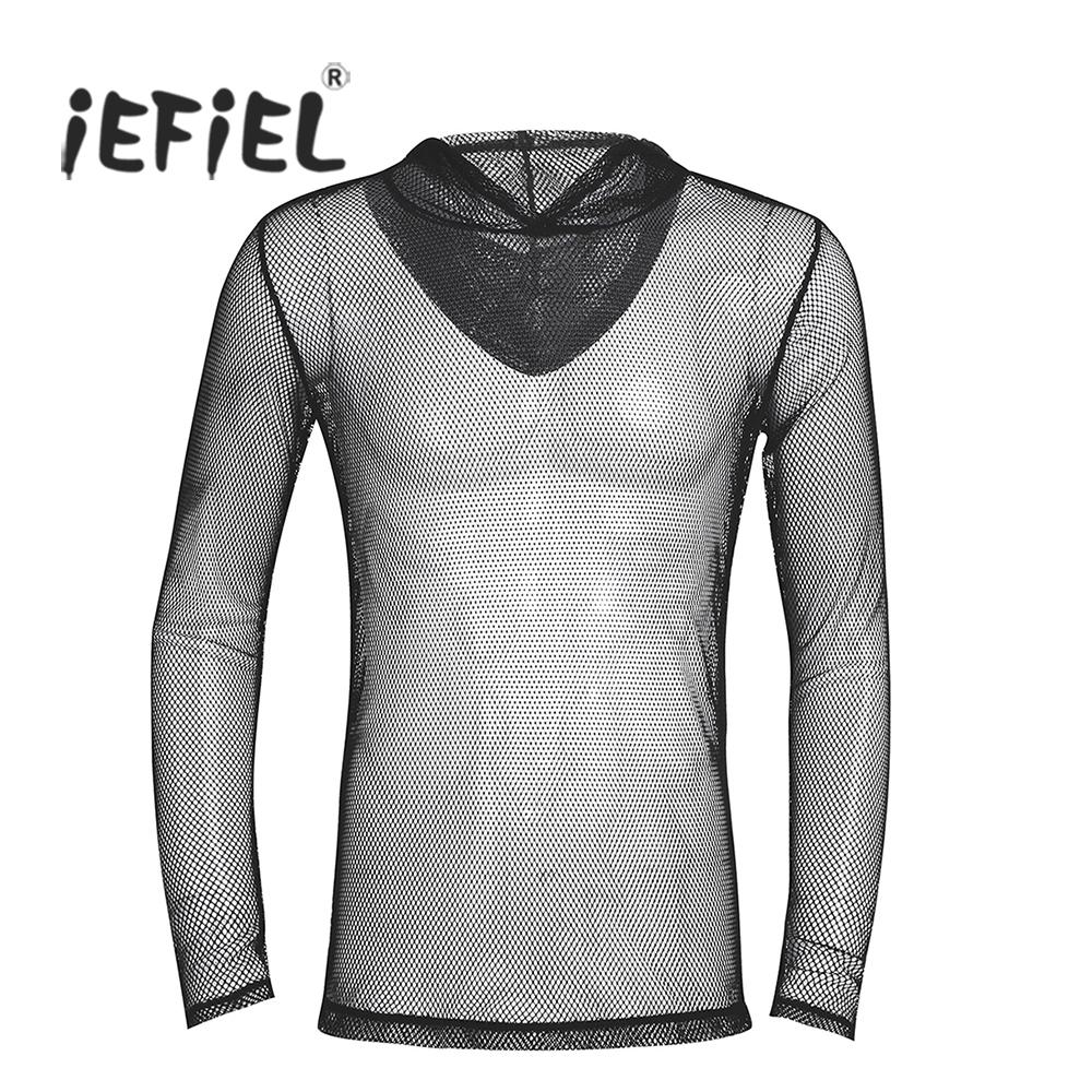 3bae7ccd3ac Clothing For Men Mens Fashion Clubwear Fishnet Hollow Out See Through  Hooded T Shirt Tops Moto Openwork Gymnastics Party Clothing For Man Printed T  Shirts ...