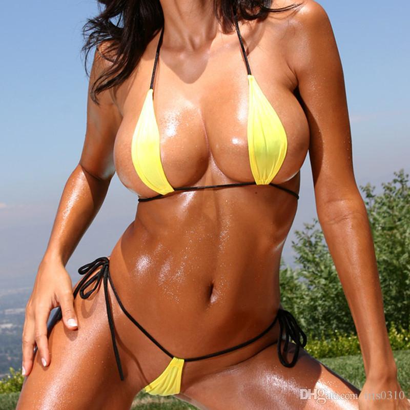 4db0d88b2f07 Compre Mujeres Sexy Lágrima Mini Micro Bikini Traje De Baño Vendaje ...