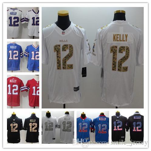 New Mens 12 Jim Kelly Buffalo Jersey Bills Football Jerseys 100 ... 6379e1c4a