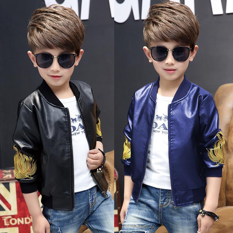 Meninos Jaqueta De Couro Casaco Fashion Boy 2017 Novas Roupas para Crianças Primavera Outono e Inverno Além de Cashmere Espessamento Casacos