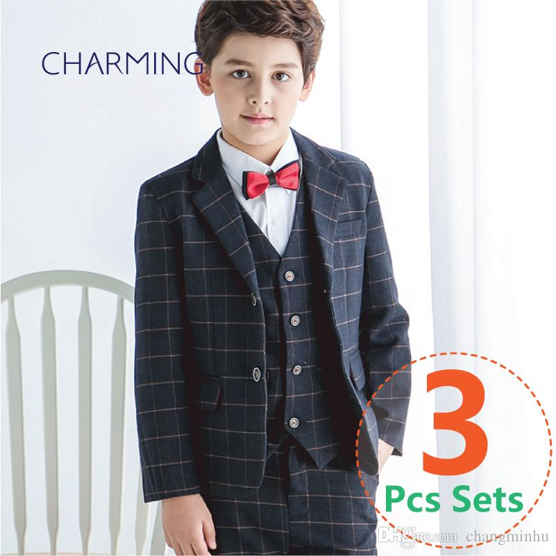 c5829a077772f Boy Plaid Suit Elegant Kid Boy Wedding Suit Gentlemen Boys Suits For  Weddings 3PCS Suit (Jacket Vest Pants)