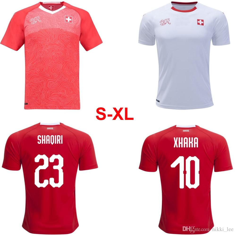 new style bc7d4 f4907 2018 Switzerland National team Home Away Jerseys world Cup #10 XHAKA #23  SHAQIRI camisetas maillot football uniform Szie S-XL Free ship!