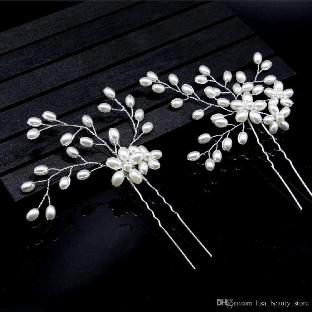 / à la main en métal argent feuille en forme de U en épingle à cheveux perle cheveux diadème pour les femmes en cristal clair pince à cheveux coiffure de fête de mariage postiche
