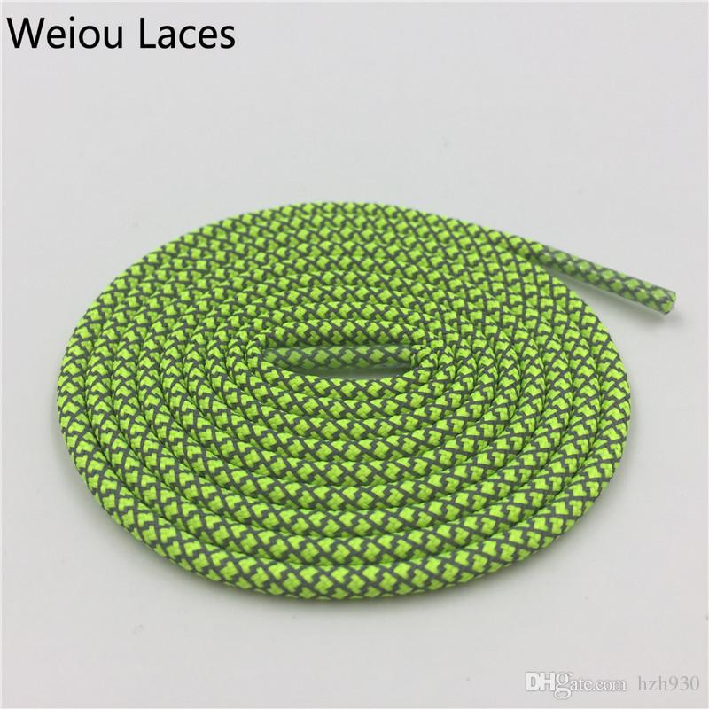 Weiou 3M Reflective Rope Cordones redondos Brillantemente cordones de zapatos para calzado deportivo 100cm Mujeres Hombres Niños Zapatos Bootlaces Cordones baratos