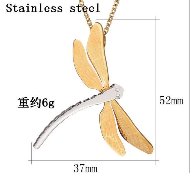 Alta qualidade de Moda personalidade longa libélula colar pingentes de aço inoxidável 316L banhado a ouro mulheres do sexo feminino presente da jóia da festa