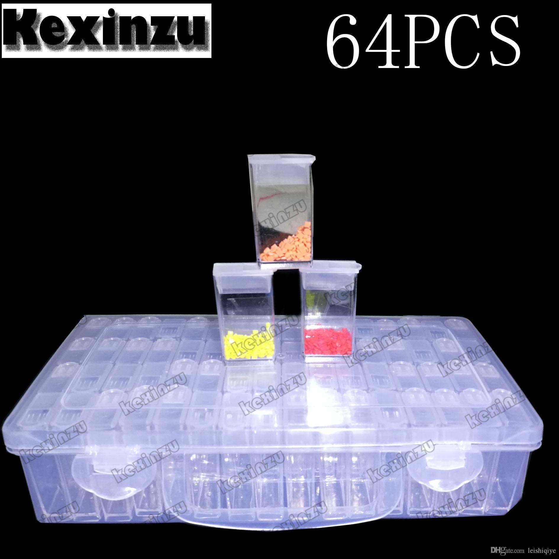 5bd17d8f7 Compre Kexinzu 64 Unidades Cajas Para Joyería Diamond Tool Diamond Beads  Contenedor Resina Rhinestone Daimond Piedra Almacenamiento De Accesorios  Caja Vacía ...