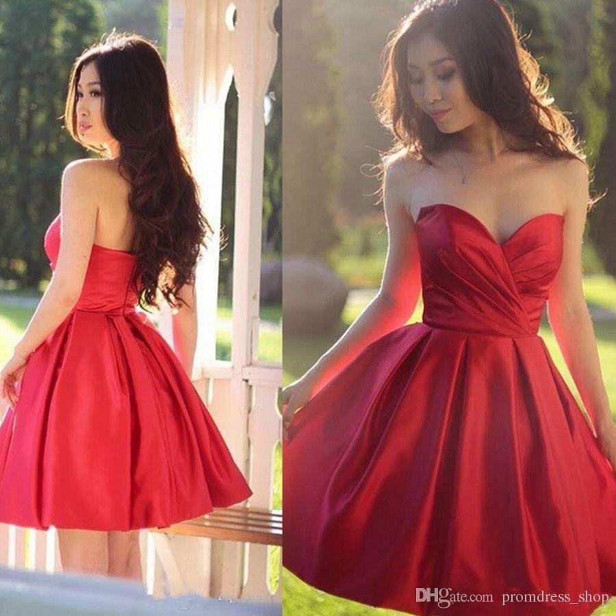 807ed5360 Compre Envío Gratis Corto Rojo Vestidos De Fiesta Robe De Una Línea Cariño Vestidos  De Fiesta Ilusión Sexy Espalda Abierta Hasta La Rodilla Vestido De ...