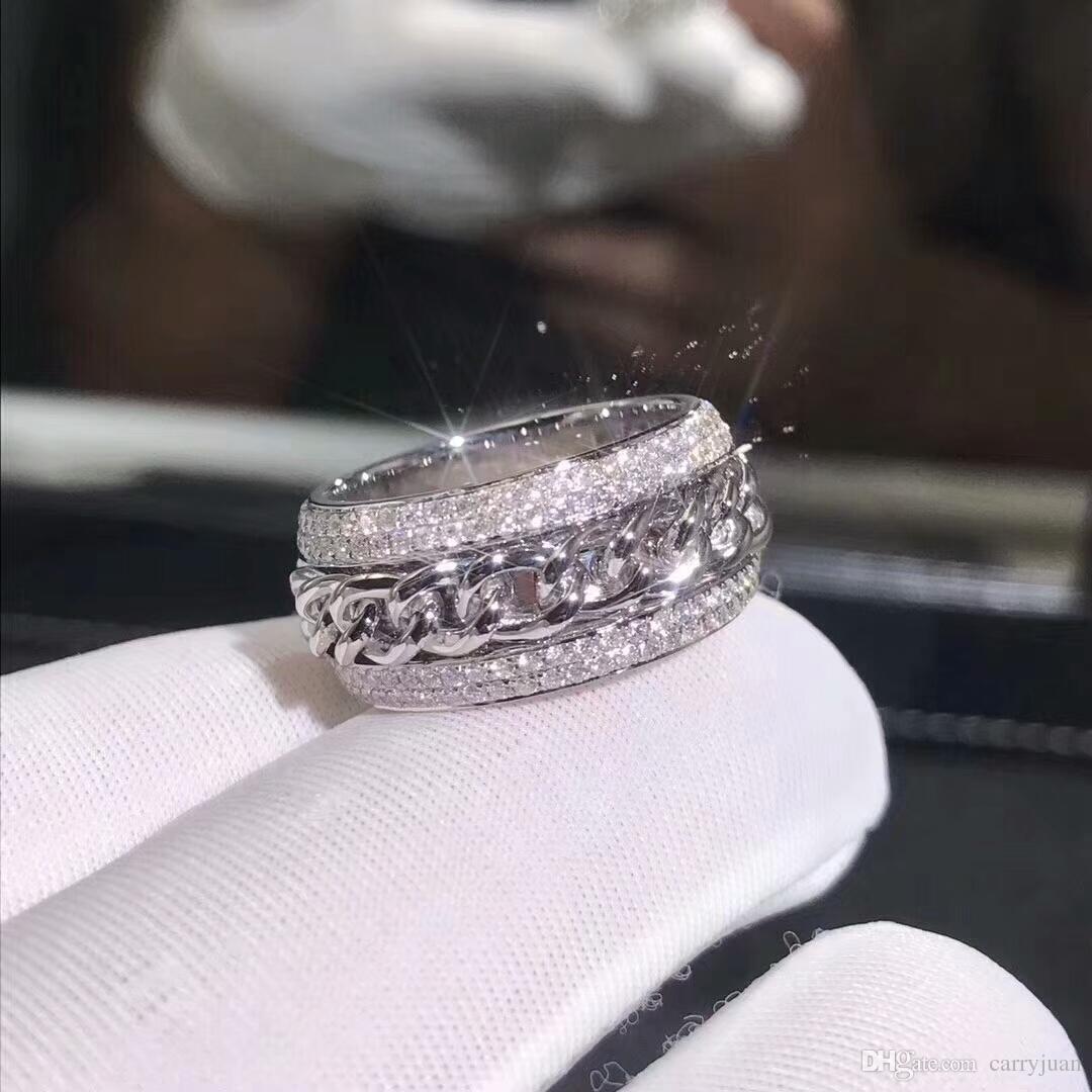 Victoria Wieck Vecalon игристые роскошные ювелирные изделия стерлингового серебра 925 проложить крошечные белый сапфир CZ Алмаз женщины свадебная цепь вращающийся кольцо