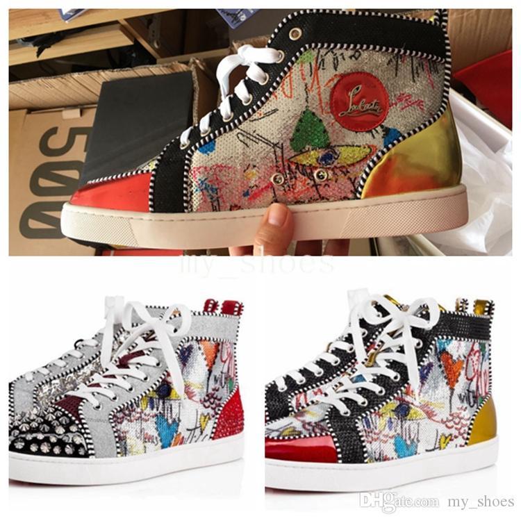 5ff3080ada0 2018 New Season Red Bottom Casual Shoes Men Shoes Luxury Brand Designer  Shoe Print Silver Pik Pik No Limit RARE studs rhinestones graffiti