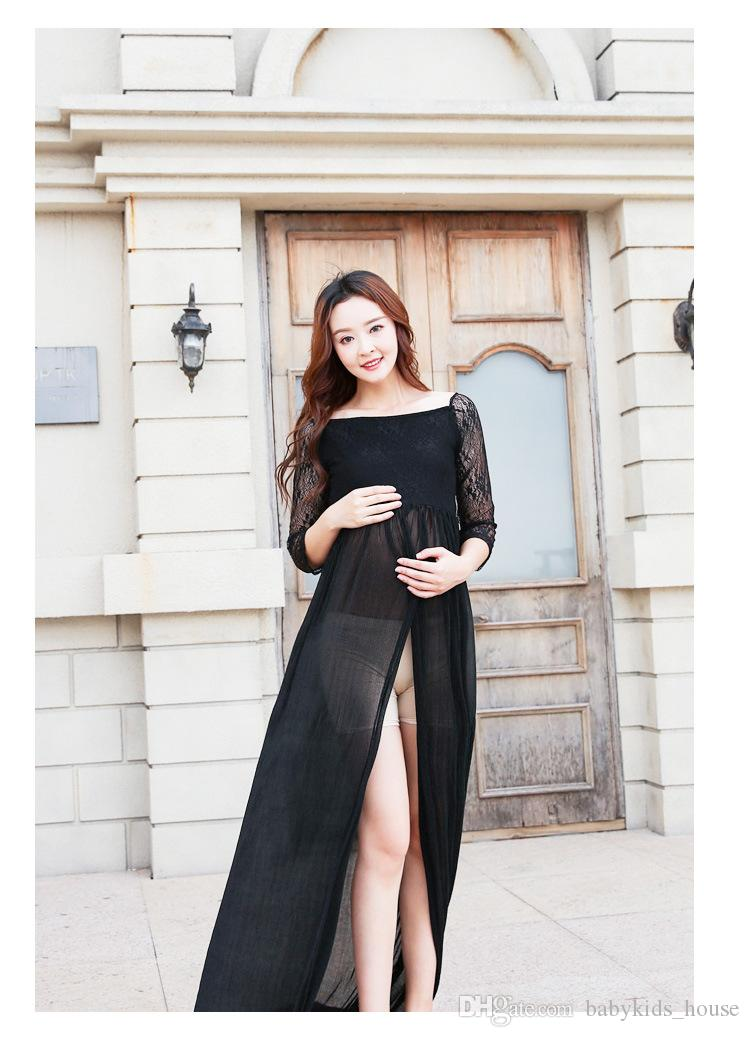 New Maternity Dress for Photo Shoot Black Lace Maternity Dress Pregnancy Photography Props Floor-Length Long Pregnancy Dress