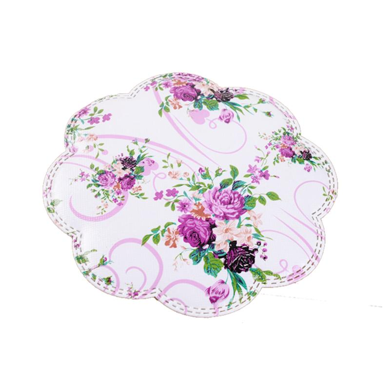 2PCS/Lot Heat Resistant Colorful Purple Flower Decorated PVC Non-woven Fabric Cup Mat Kitchen Accessory Dining Table Placemat