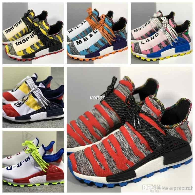 on sale 5536f 9fa19 2018 New Human Race Afro Hu Trial Solar Pack Mens Womens Running Shoes  Pharrell Williams Blank Human Races Trainers Sneakers Size 36-45