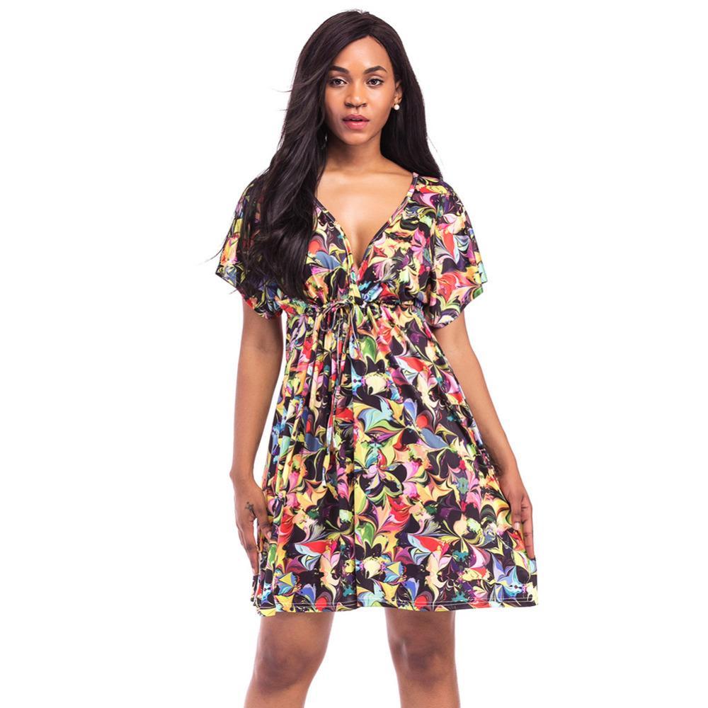 6c1afd02fed9 Compre Mulheres Sexy Plus Size Vestido De Impressão Geométrica Dashiki Mini  Vestido V Neck Manga Curta Elástico Na Cintura Verão Praia Vestido Africano  2018 ...
