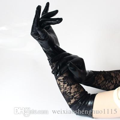 European and American style long patent leather lace sexy gloves sexy lace patent leather stitching gloves performance love free shippingA