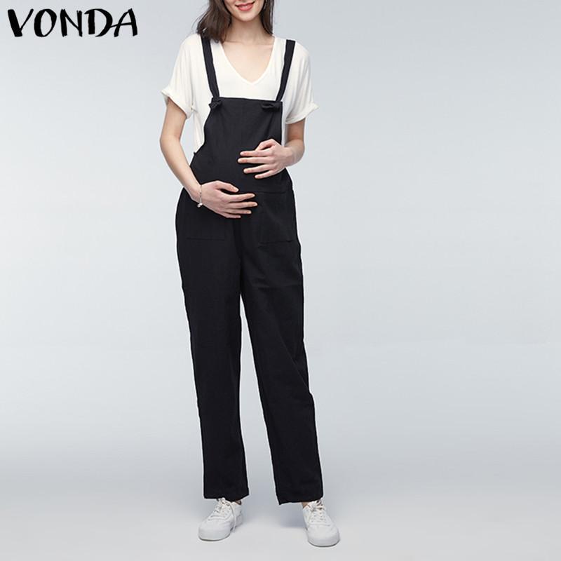d3dbf6ab8831 VONDA Pantalones de maternidad 2018 Mamelucos embarazadas Mono para mujer  Casual Suelta Embarazo Monos Trajes Pantalones Partes de abajo Oversize
