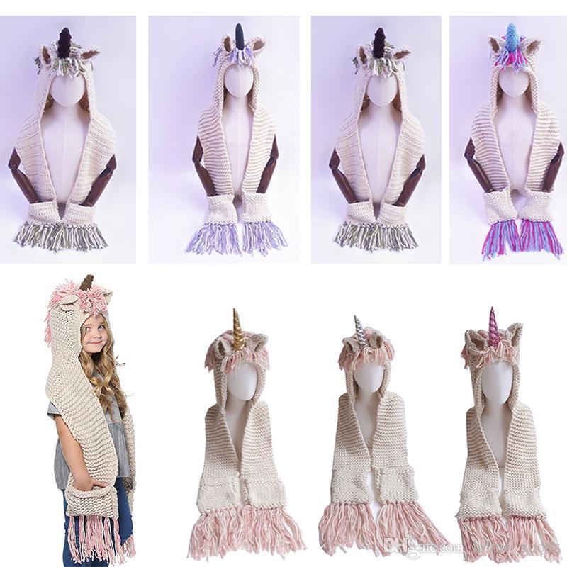 Compre 2 En 1 Gorro Bufanda Unicornio Niños Infantil Llama Cálido ...