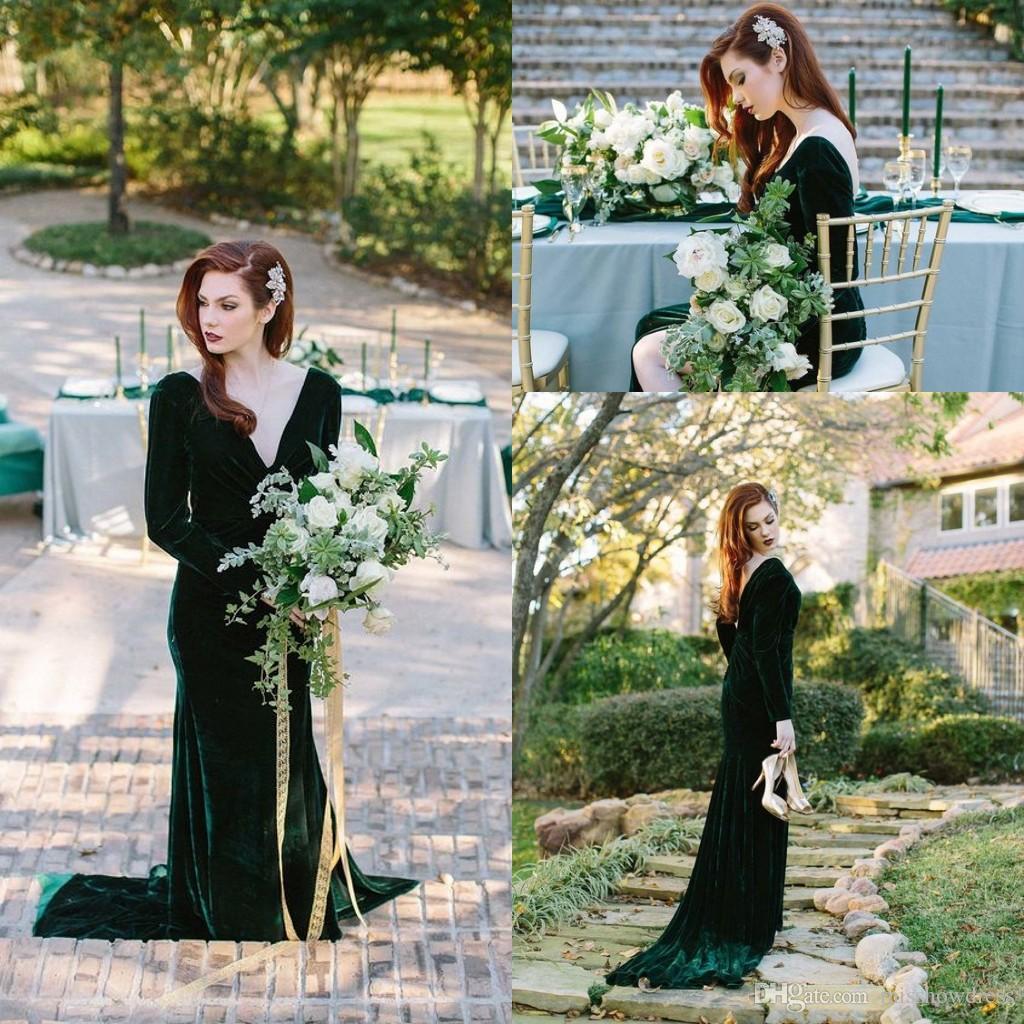 6fcebac9b9c Elegant V Neck Velvet Long Bridesmaid Dresses 2019 Ruched Split Backless  Sweep Train Maid Of Honor Wedding Guest Party Evening Dresses Black Lace  Bridesmaid ...