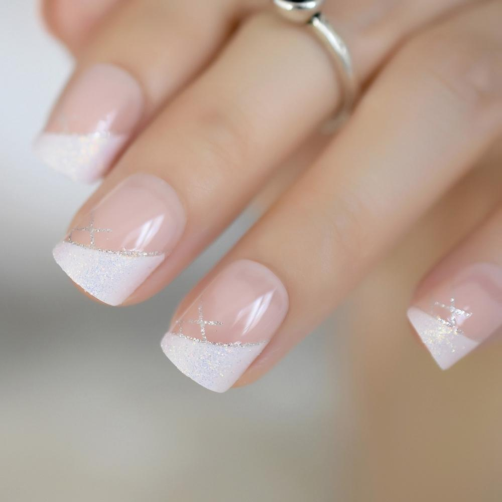 Iridescent White Instant French Nails Glitter Beveled Clear Short ...
