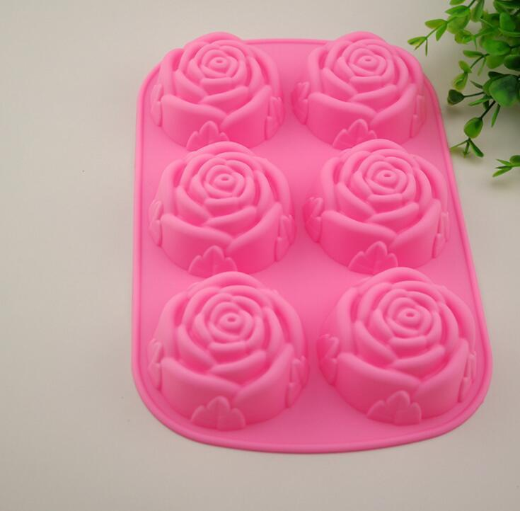 Grosshandel 1 Stuck 6 Gitter Rose Kuchen Pudding Formen Diy