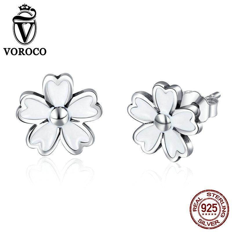 ef824c19b VOROCO 925 Sterling Silver Stud Earring for Women Fashion Flower ...
