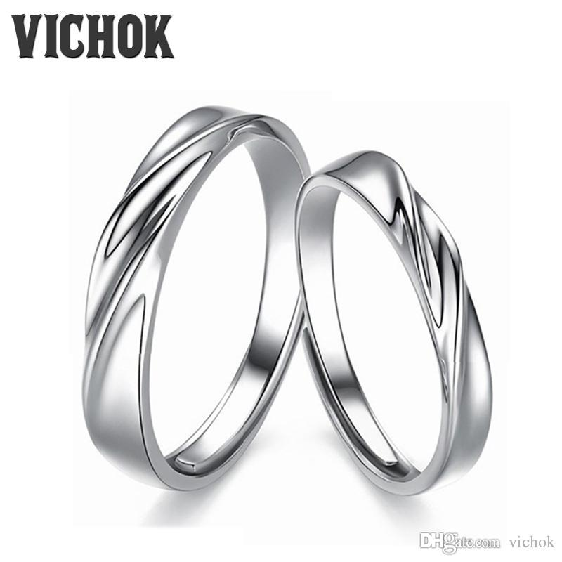 72931fd674 2019 925 Sterling Silver Couples Ring Set Platinum Plated Women Men  Adjustable Band Gifts Jewelry Engagement Rings Bague VICHOK From Vichok,  $7.96 | DHgate.