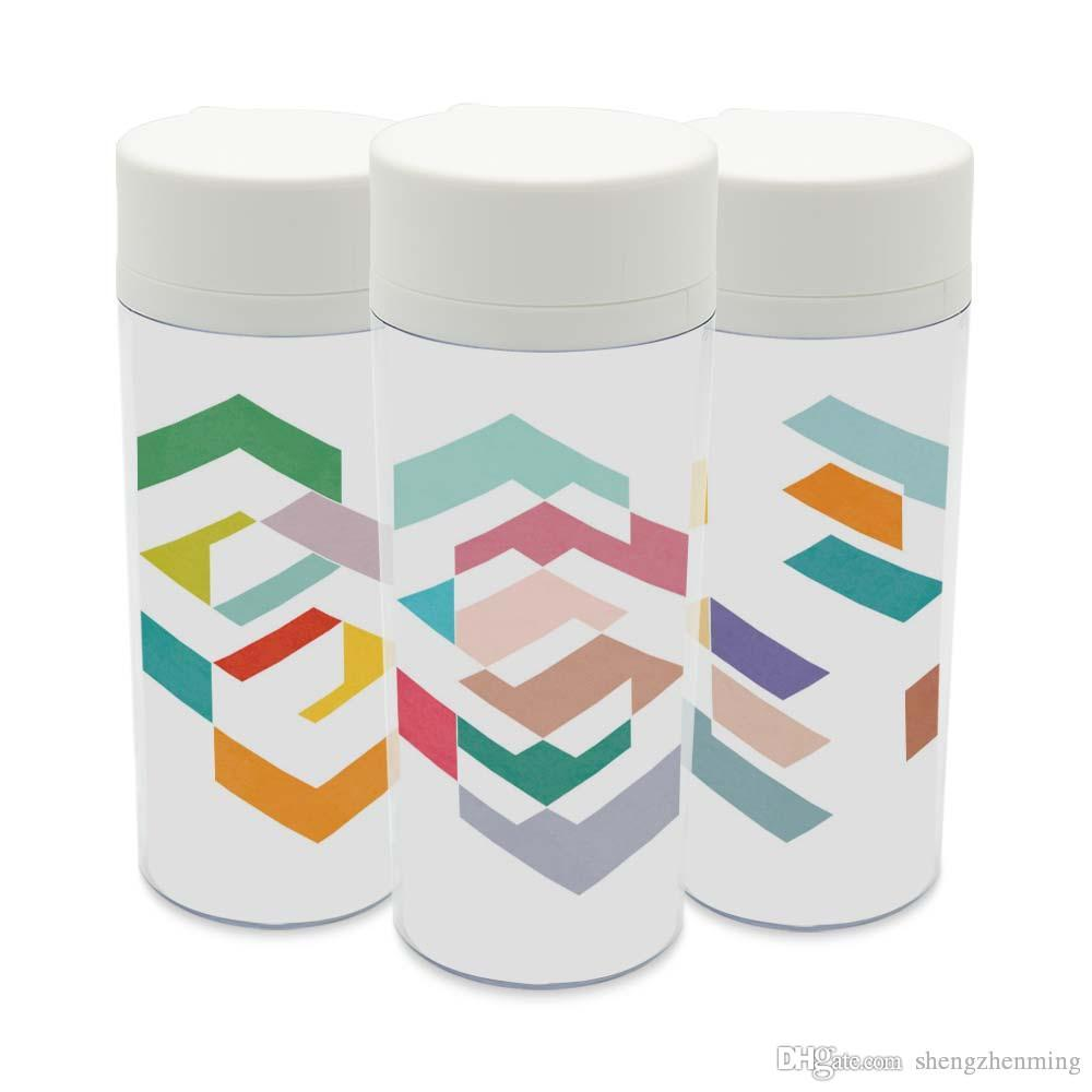 Personalized Colorful Textured Abstract Geometric Shape Drinkware With Lid  BPA Free Plastic Insulated Kids Water Bottles 300ml