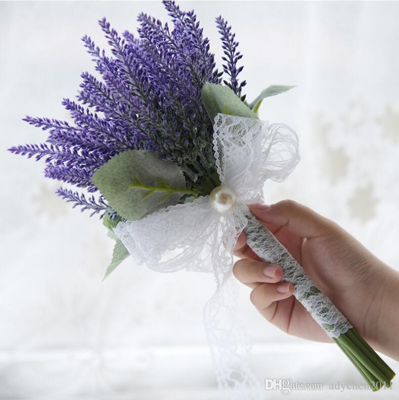 Lila Lavendel Brautjungfer Bouquet Kunstliche Hochzeit Blumen Spitze Bogen Handgemachte Brosche Bouquets Braut Fleur Artificielle Mariage 2018