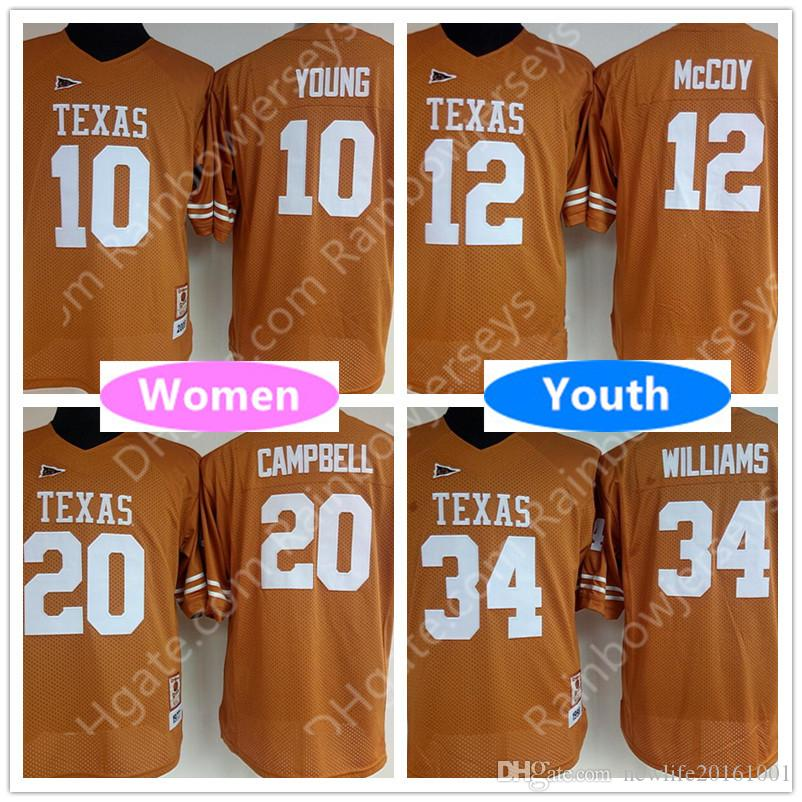 Womens Youth Kids Texas Longhorns College Jerseys 12 Colt McCoy 10 Vince  Young 20 Earl Campbell 34 Ricky Williams Orange White 12 Colt McCoy Women  Kid ... 5b2b4f45f