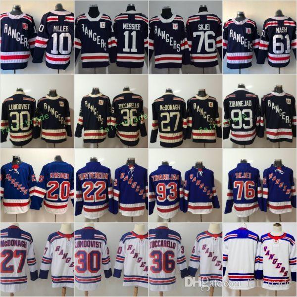 2019 2018 Winter Classic Hockey Jersey New York Rangers 30 Henrik Lundqvist  27 Ryan McDonagh 36 Mats Zuccarello 61 Rick Nash 11 Mark Messier Blue From  Fair ... d6d1471bb