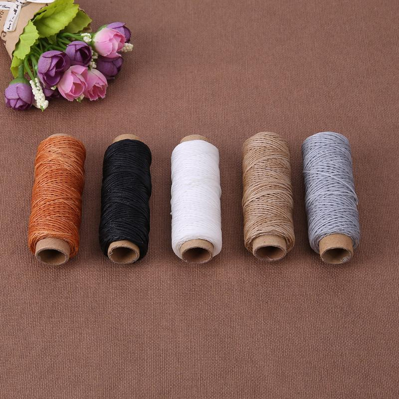 10 Colors 50m/Roll Handmade Flat Waxed Sew Wax line Thread 150D Cord Sewing  Craft Tool Hand Stitching For DIY Leather