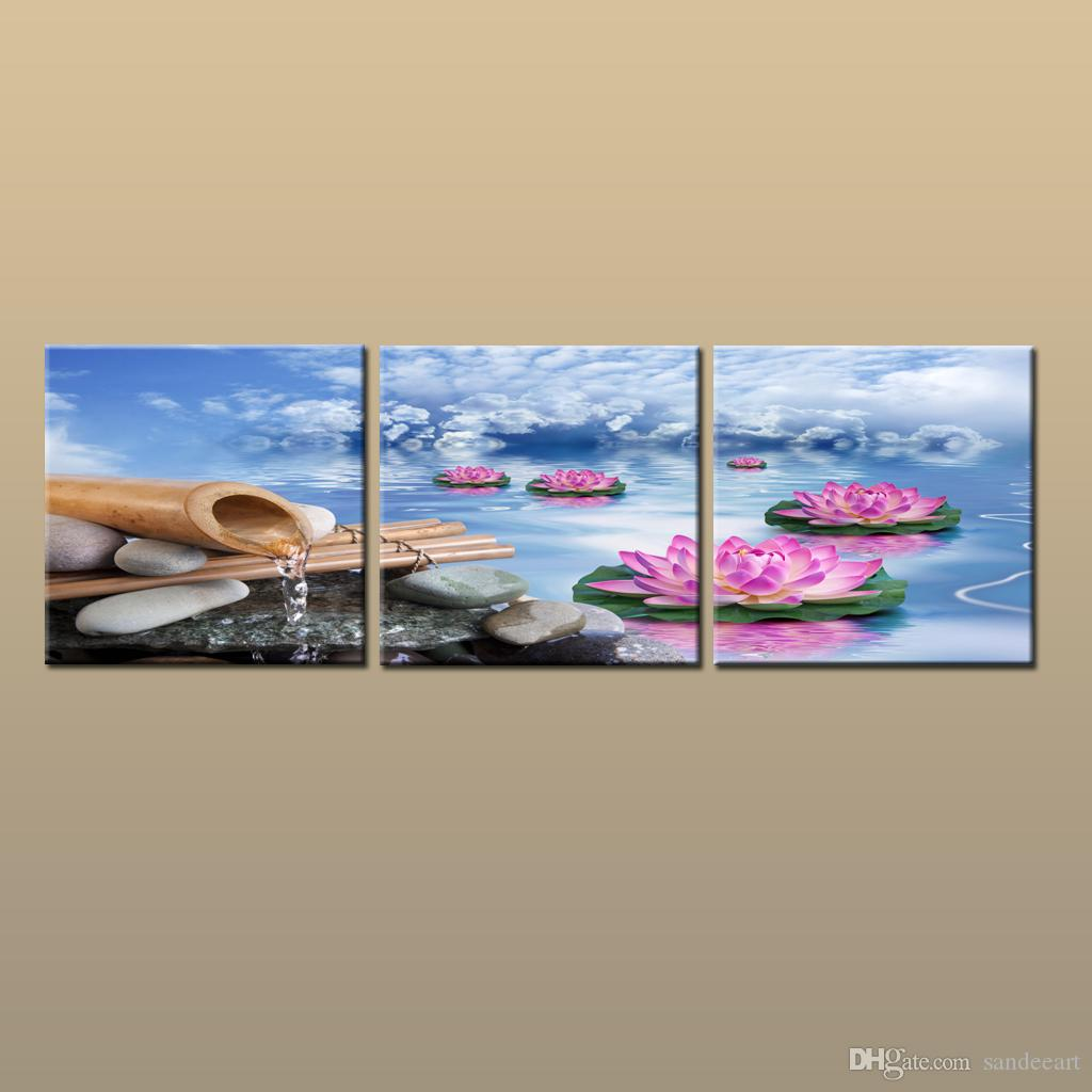 Framedunframed Hot Modern Contemporary Canvas Wall Art Print Painting Abstract Lotus Flower Picture 3 Piece Living Room Home Decor Abc286