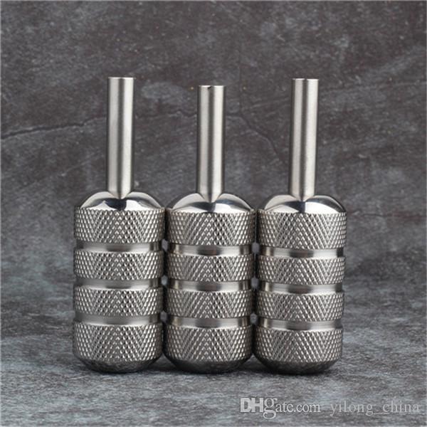 Prese tatuaggio di alta qualità YILONG 25mm argento in acciaio inox zigrinato Tattoo Machine Grip Tube Supply Tattoo Body Art