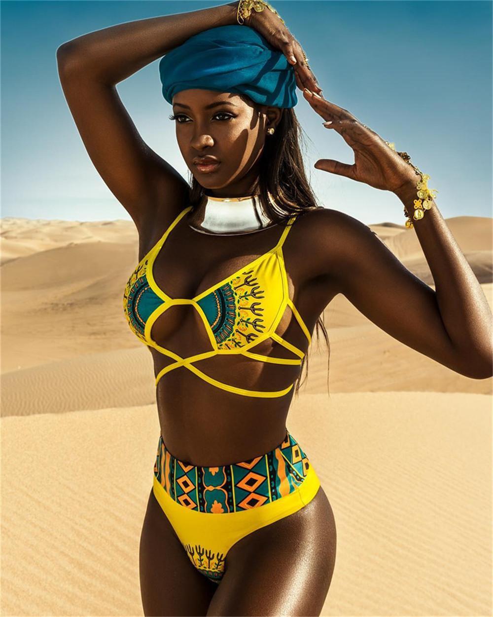الفتيات الولايات المتحدة مثير ملابس السباحة الأصفر كارتون سيدة الطباعة شاطئ البحر بيكيني ملابس السباحة سبليت اثنين من قطعة ملابس السباحة أحزمة الأشرطة التعادل مرونة حجم قابل للتعديل