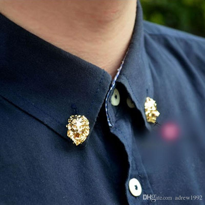 b9edfb4063 Unisex 1 Pair Men Jewelry Collar Pin Gold Tone Lion Head Collar Tips Brooch  Suit Shirt Accessory For Women Gift