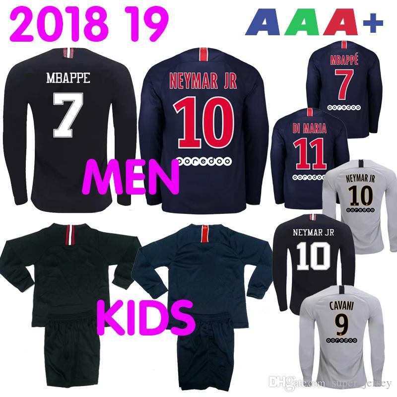 bc861e106 Compre 2019 De Manga Longa PSG Paris Maillot MBAPPE Camisa De Futebol  CAVANI VERRATTI Top Tailândia Homens Crianças Em Casa Longe Terceiro  KIMPEMBE Camiseta ...