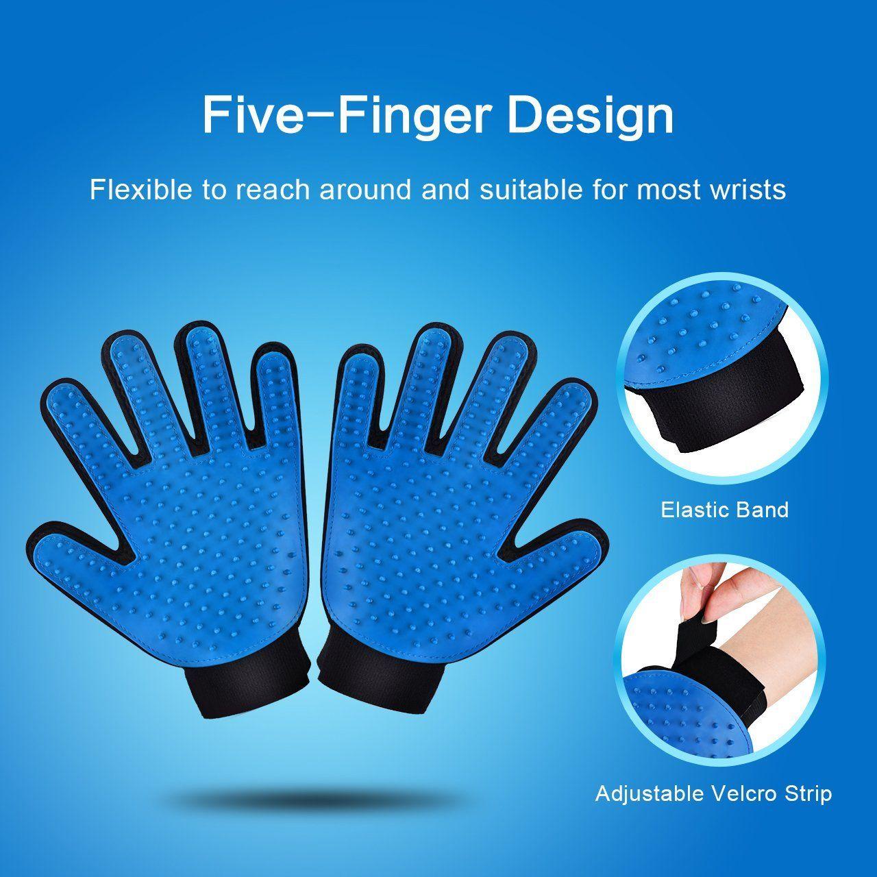 Pet Grooming Glove Gentle De-shedding Brush Glove Efficient Pet Hair Remover Mitt Massage Tool with Enhanced Five Finger Design Right hand