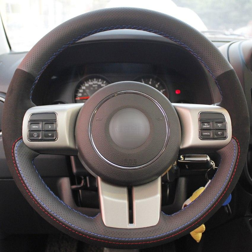 2b86e8014 Compre Couro Genuíno Preto Camurça Mão Costurado Volante Capa Para Jeep  Compass Grand Cherokee Wrangler Patriot 2012 2013 2014 De Chen331255