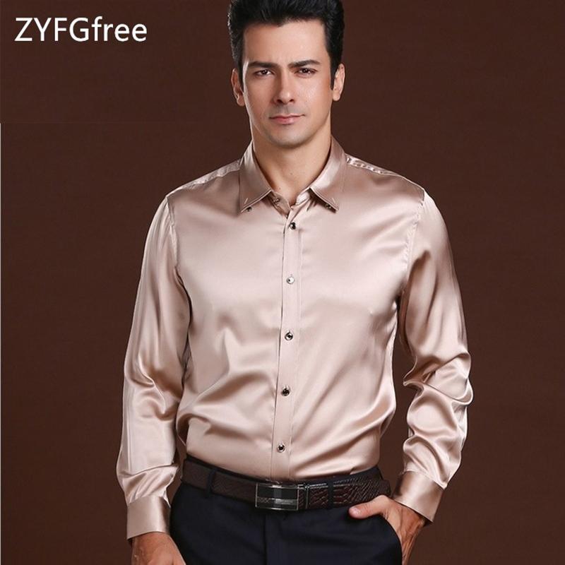 d0cd8b3804121a 2019 100% Silk Business Men S Silk Shirt Long Sleeved Stretch Satin Tops  High End Authentic Boutique Men S Shirt Z02 From Rachaw